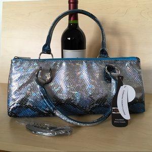 Wine Carrier Clutch Faux Snakeskin NWT